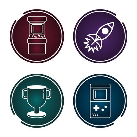 set of video game sticker vector illustration 版權商用圖片 - 125596998