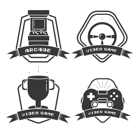 set of video game labels vector illustration