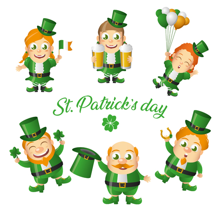 leprechaun and gils happy st patricks day vector illustration