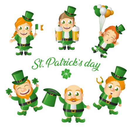 leprechaun and gils happy st patricks day vector illustration