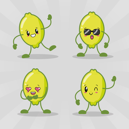 set cute  lemons fruits emotions vector illustration Ilustrace