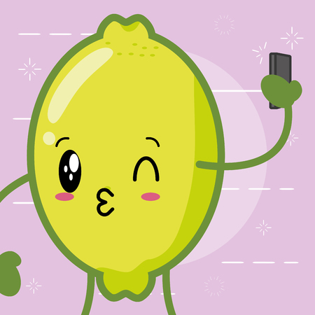 lemon cartoon with cellphone vector illustration Çizim