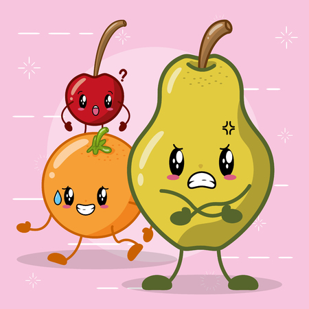kawaii orange pear cherry character on white background vector illustration