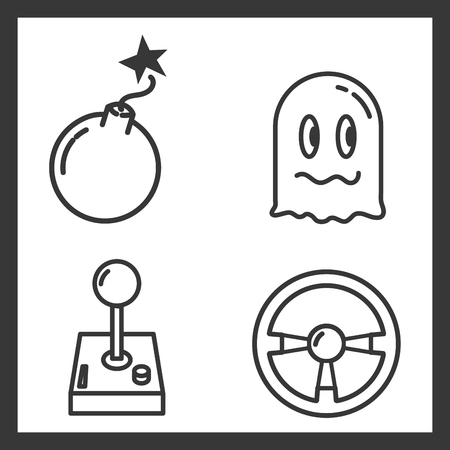set of video game vector illustration outline