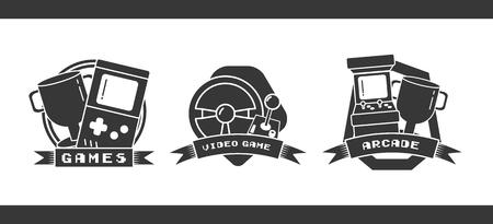 jeu vidéo badges console trophée roue arcade rétro Vecteurs
