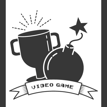trophy and boom cartoon video game vector illustration