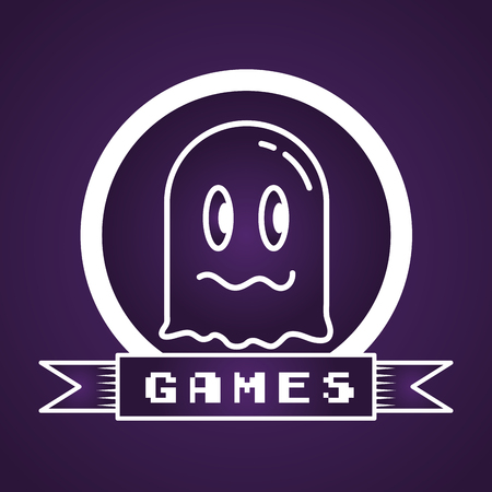 ghost avatar video game cartoon vector illustration label Illusztráció