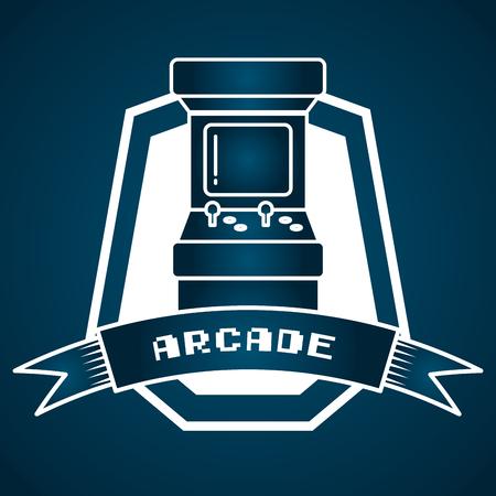 Étiquette d'illustration vectorielle de jeu vidéo de contrôle de machine d'arcade Vecteurs