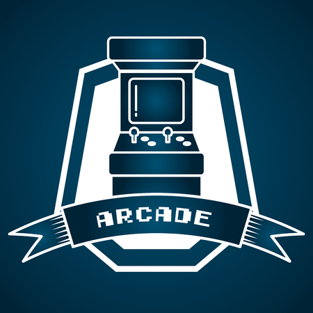 arcade machine control video game vector illustration label