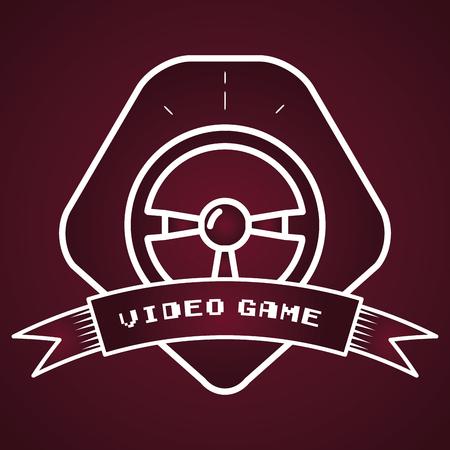 steering wheel video game vector illustration label Illustration