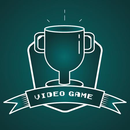 trophy winner video game vector illustration label Reklamní fotografie - 125597037