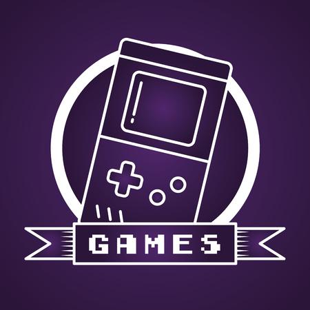portable console retro video game vector illustration label