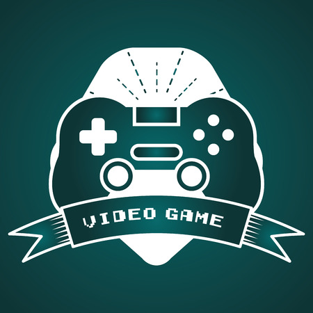 gamepad control device video game vector illustration label