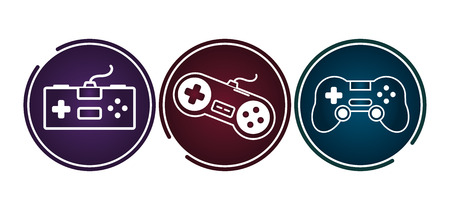 video game controllers gadgets set vector illustration