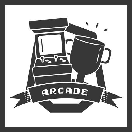 arcade trophy star video game vector illustration