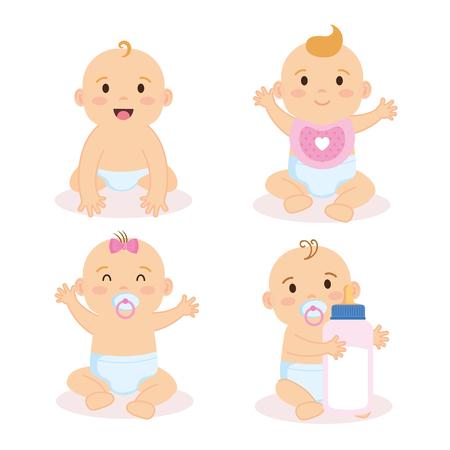 Groupe de bébés caractères vector illustration design