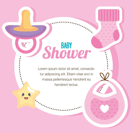 baby shower card with set items vector illustration design Иллюстрация