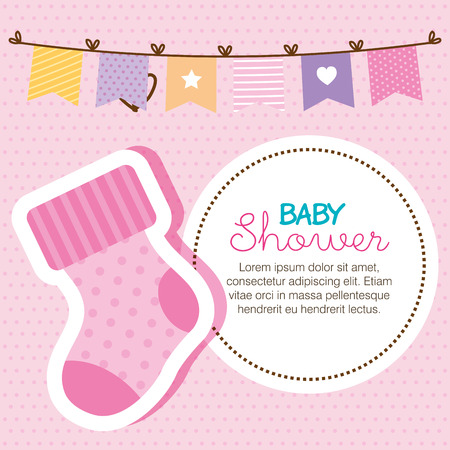 baby shower card with sock vector illustration design