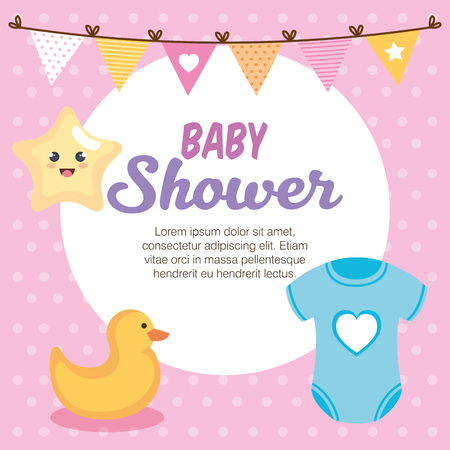 baby shower card with set items vector illustration design 스톡 콘텐츠 - 116694700