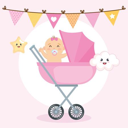 Pequeña tarjeta de baby shower, diseño de ilustraciones vectoriales