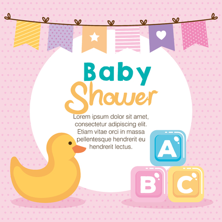 baby shower card with set items vector illustration design 스톡 콘텐츠 - 116298504