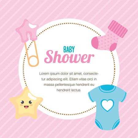 baby shower card with set items vector illustration design  イラスト・ベクター素材