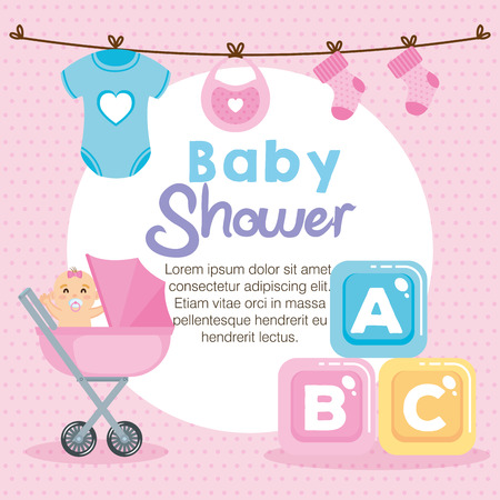 baby shower card with set items vector illustration design 일러스트