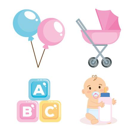 Tarjeta de baby shower con elementos de conjunto, diseño de ilustraciones vectoriales