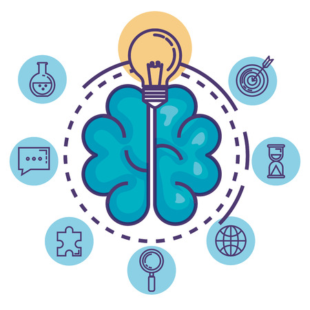 brain with innovation icons vector illustration design Çizim