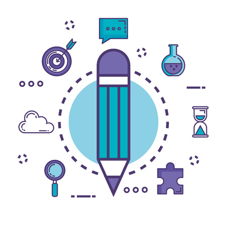 pencil with innovation icons vector illustration design