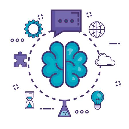 brain with innovation icons vector illustration design Illustration