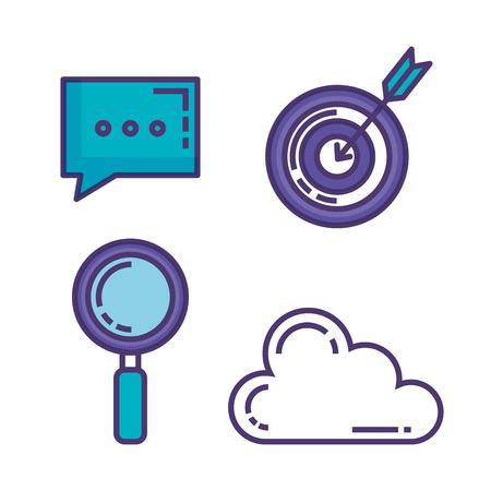 set of technological innovation icons vector illustration design Illustration