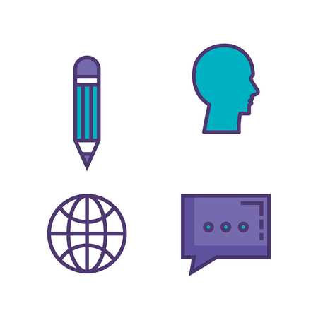 set of technological innovation icons vector illustration design Çizim