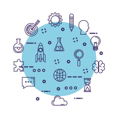 set of technological innovation icons vector illustration design Vectores