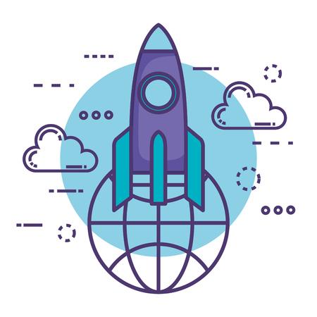 rocket launcher with innovation icons vector illustration design Illustration