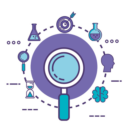 magnifying glass with innovation icons vector illustration design