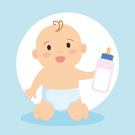 disegno di illustrazione vettoriale di carattere carino piccolo bambino