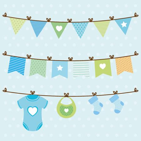 Carte de douche de bébé avec des éléments de conception d'illustration vectorielle suspendus Vecteurs