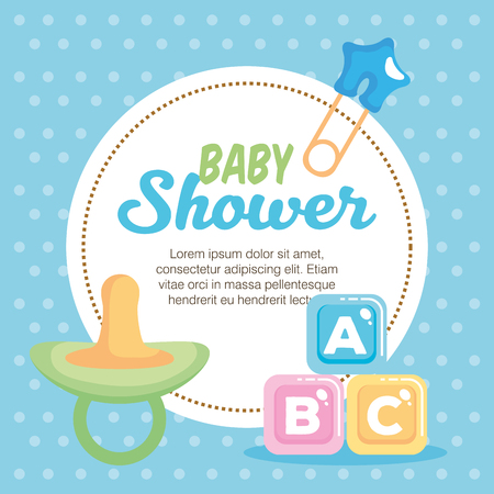 baby shower card with set items vector illustration design 向量圖像