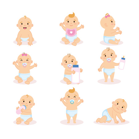 group of babies characters vector illustration design