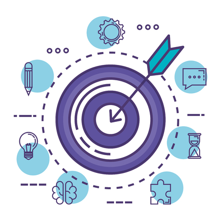 target success with innovation icons vector illustration design