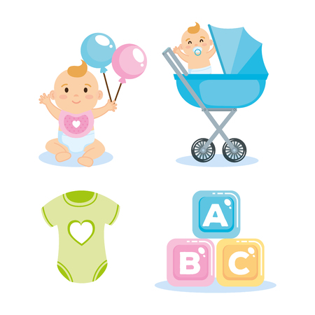 baby shower card with set items vector illustration design Çizim