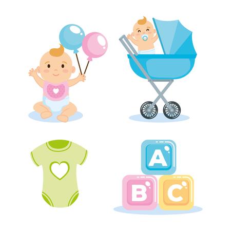 Tarjeta de baby shower con elementos de conjunto, diseño de ilustraciones vectoriales Ilustración de vector