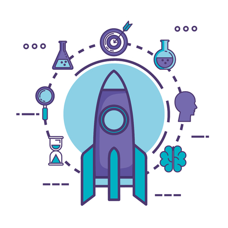 rocket launcher with innovation icons vector illustration design Çizim