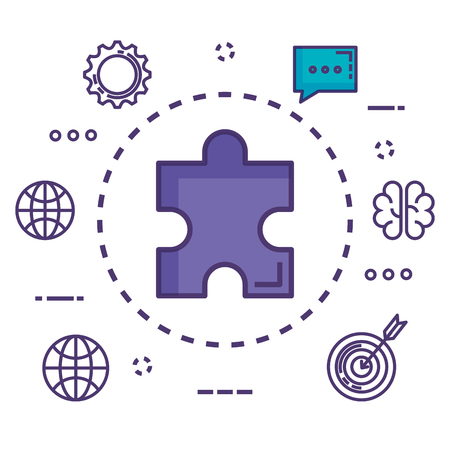 puzzle piece with innovation icons vector illustration design Illustration