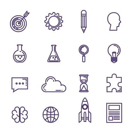 Conjunto de iconos de innovación tecnológica, diseño de ilustraciones vectoriales