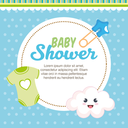 scheda dell'acquazzone di bambino con il disegno dell'illustrazione di vettore degli elementi stabiliti