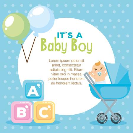 baby shower card with set items vector illustration design Illustration