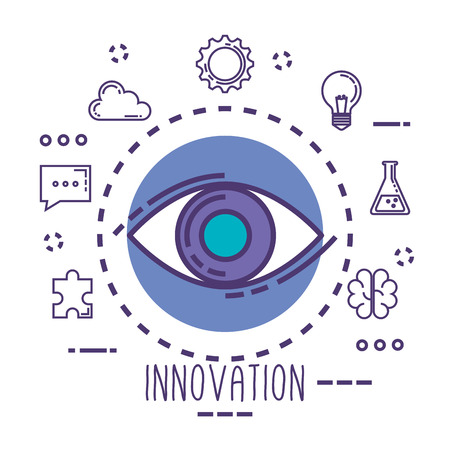 eye view with innovation icons vector illustration design