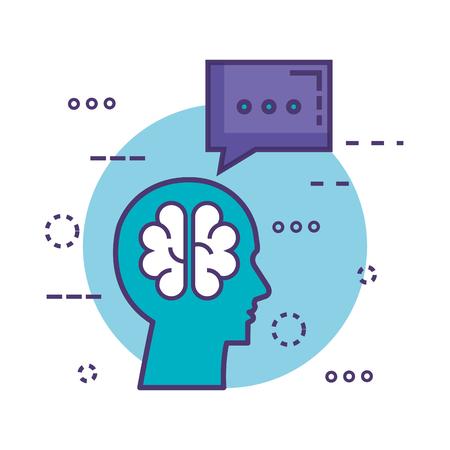 profile with brain innovation icon vector illustration design